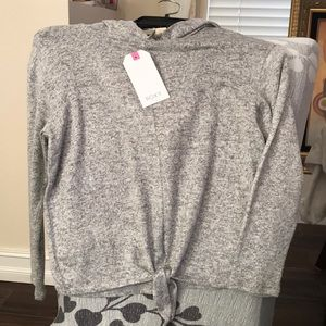 Roxy light weight gray hooded shirt NWT size 10